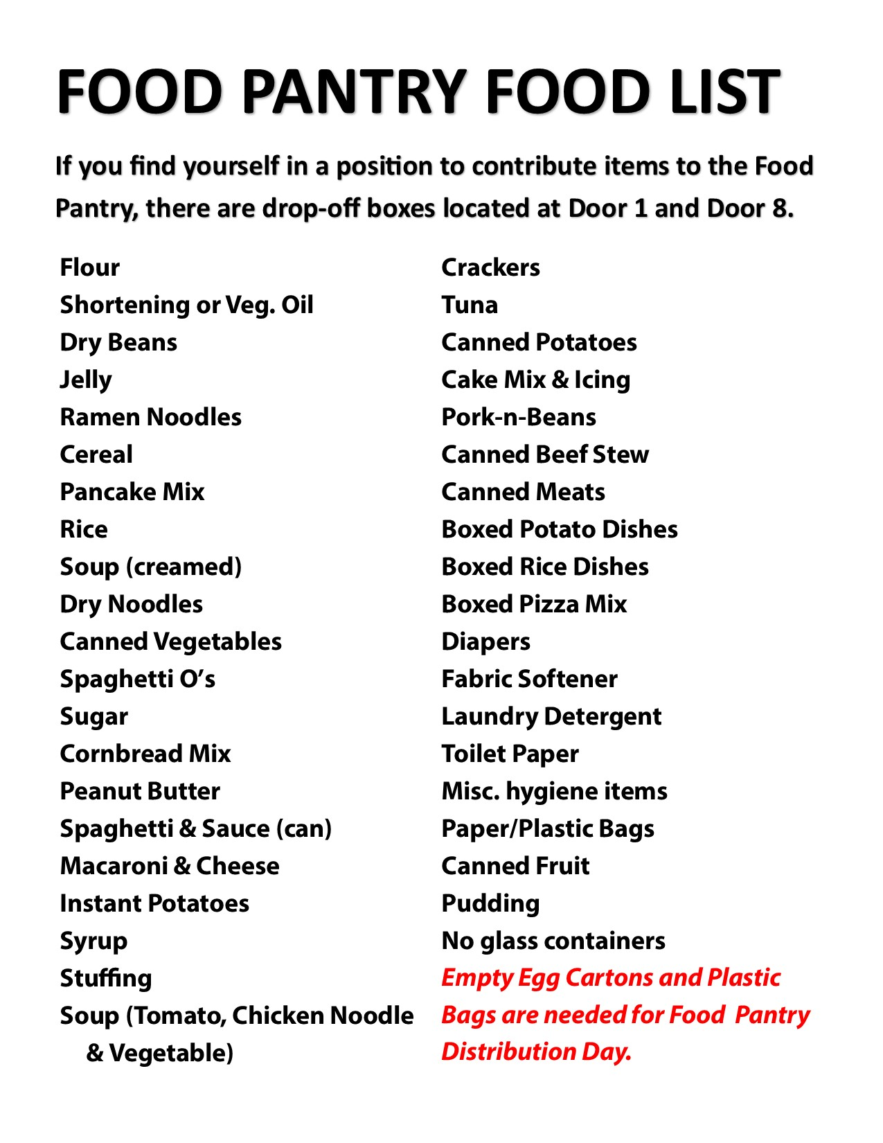Church Food Pantry Items